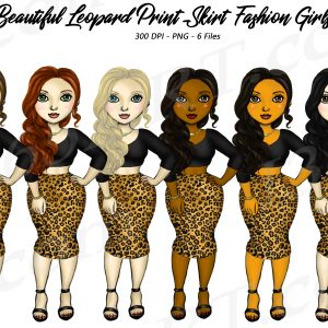 Leopard Skirt Woman Clipart