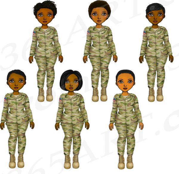 Black Female Soldier Clipart