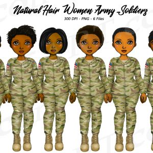 Black Female Soldier Clipart