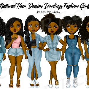Black Woman Denim Clipart