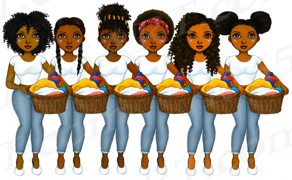 Black Girl Laundry Clipart