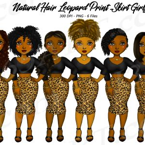 Leopard Skirt Black Woman Clipart
