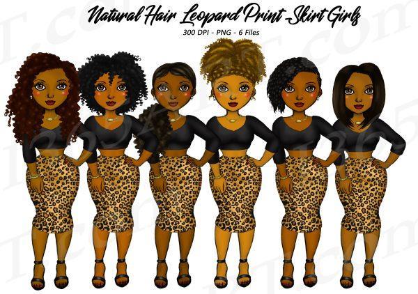 Leopard Skirt Black Woman Clipart