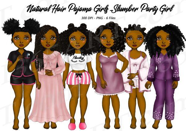Black Pajama Girl Clipart