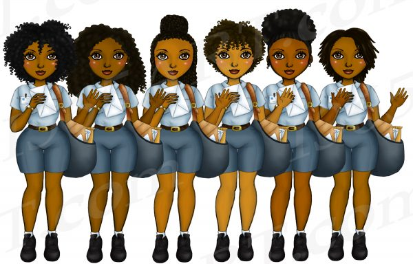 Black Woman Postal Workers Clipart