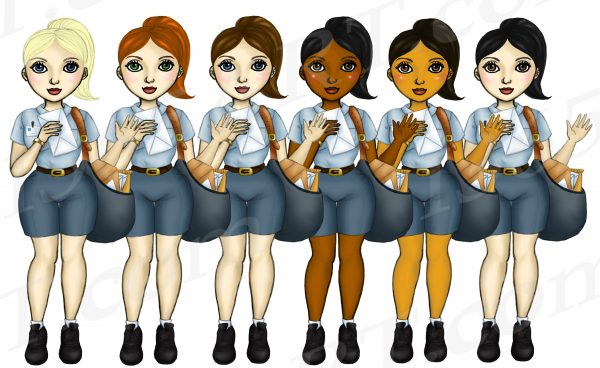 Female Postal Workers Clipart