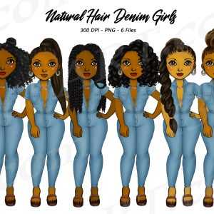 Black Women in Denim Jumpers Clipart