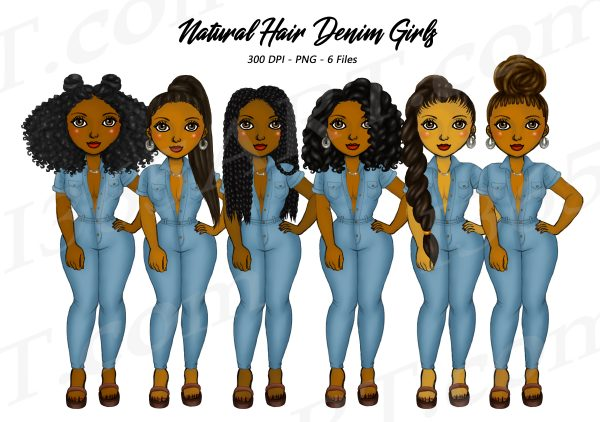 Black Women in Denim Jumpers Clipart