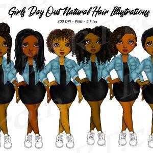 Natural Hair Denim Girls Clipart