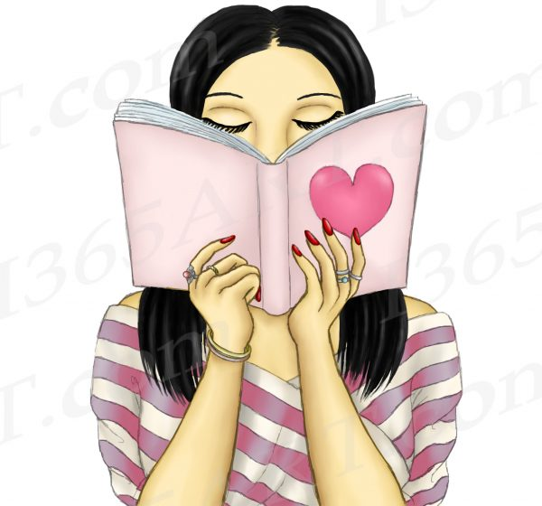 Dark Haired Woman Reading Clipart