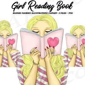 Blonde Woman Reading Clipart