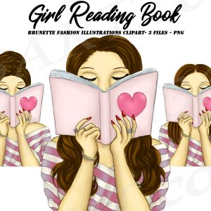 Brunette Woman Reading Clipart