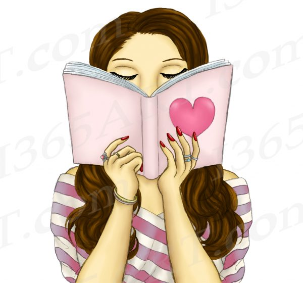 Brunette Woman Reading Clipart