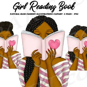 Black Woman Reading Clipart