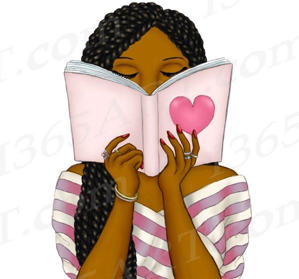 Black Woman Reading Clipart