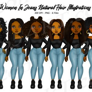 Black Women in Jeans Clipart