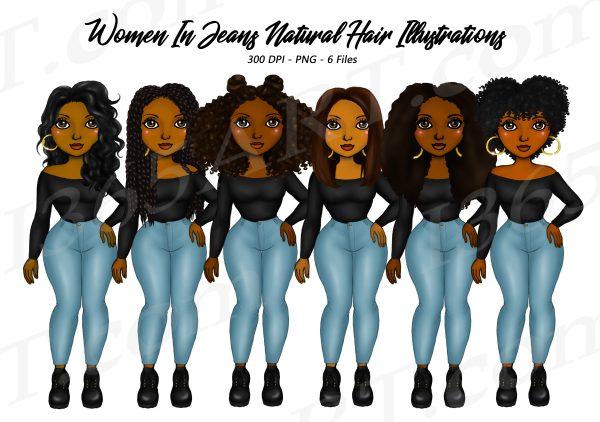 Black Women in Jeans Clipart
