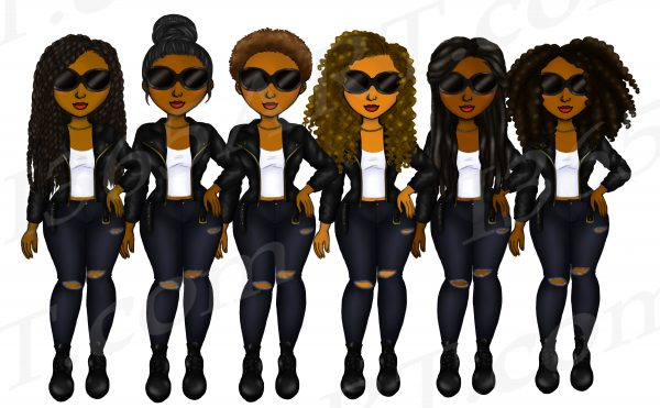 Black Women Bikers Clipart