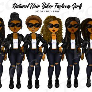 Black Women Bikers Clipart