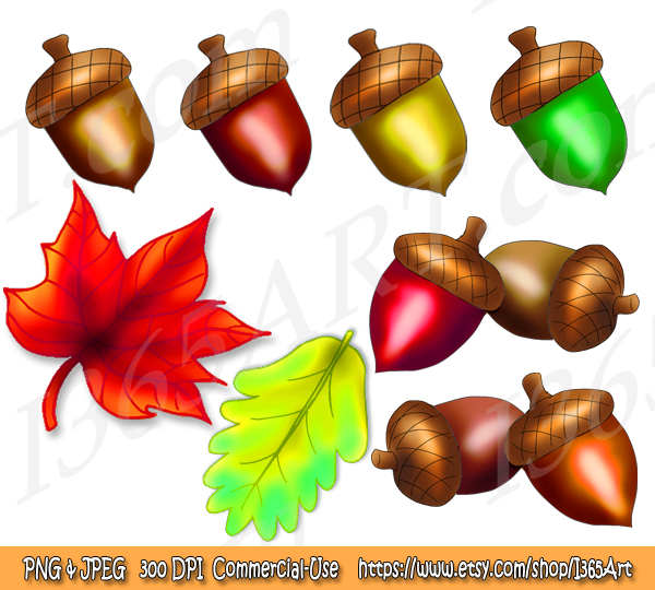 Acorn & Fall Leaves Clipart Bundle – Available Now!