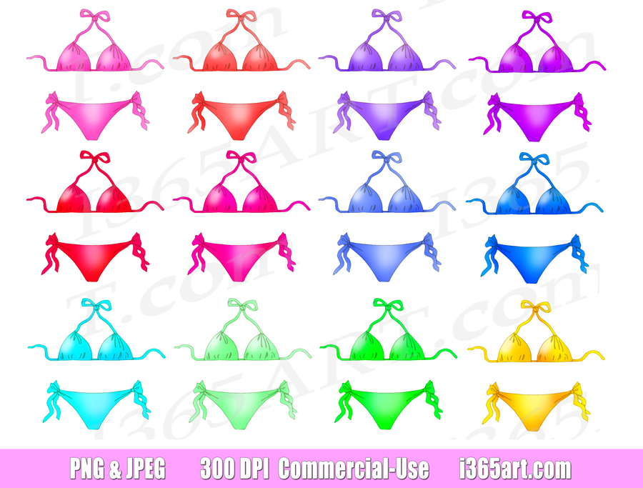 Bikini Clipart, Summer Wear, Planner, Printables, Scrapbooking, PNG, Commercial