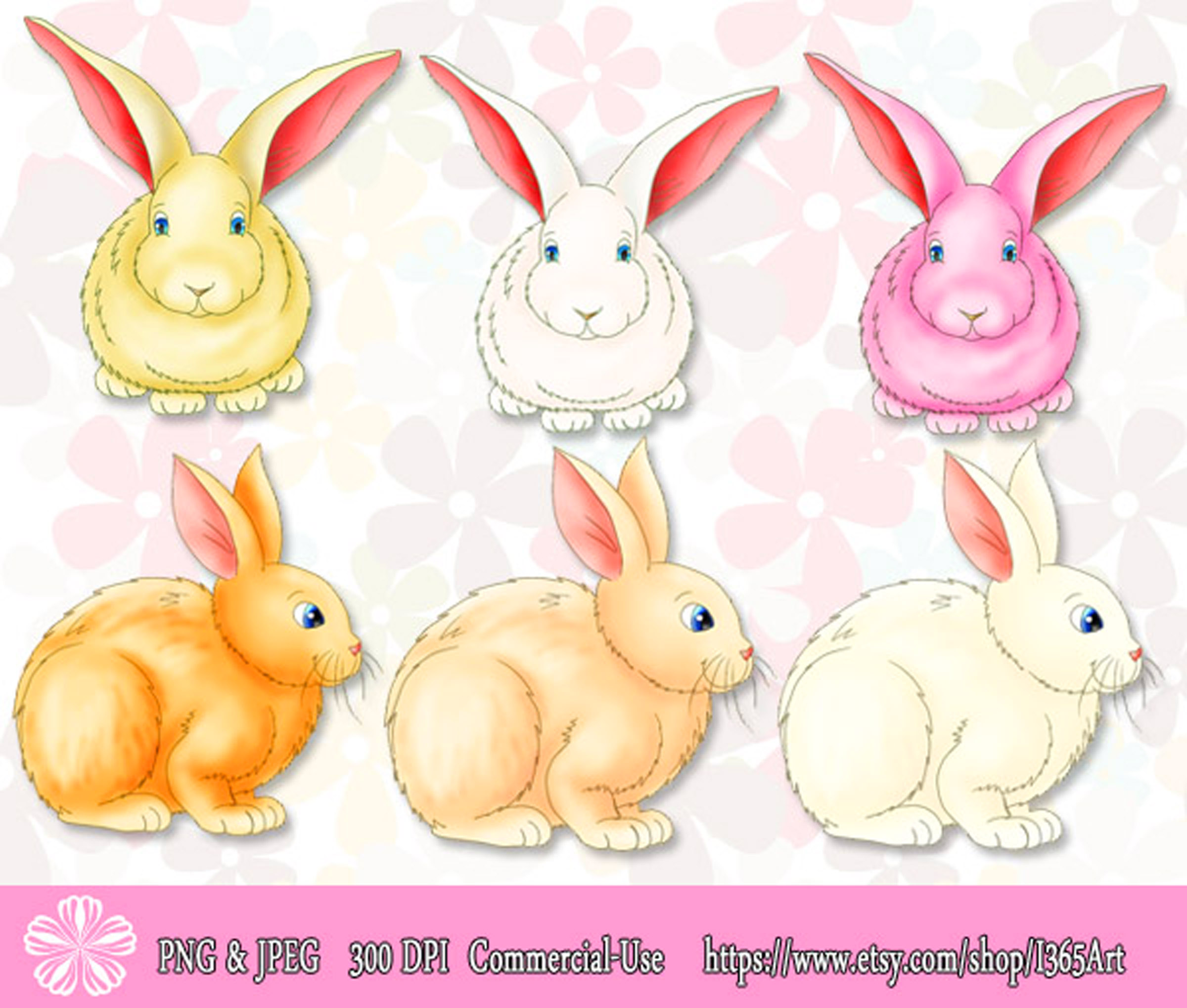 Cute Colorful Easter Bunny Rabbit Clipart Graphics – For Sale at the I365Art Store Now