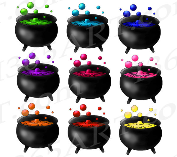 witch cauldron clipart