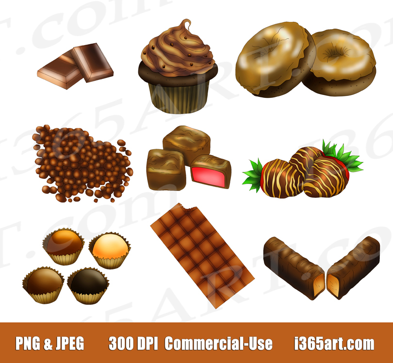 Chocolate Clipart, Chocolate Candy, PNG, Commercial