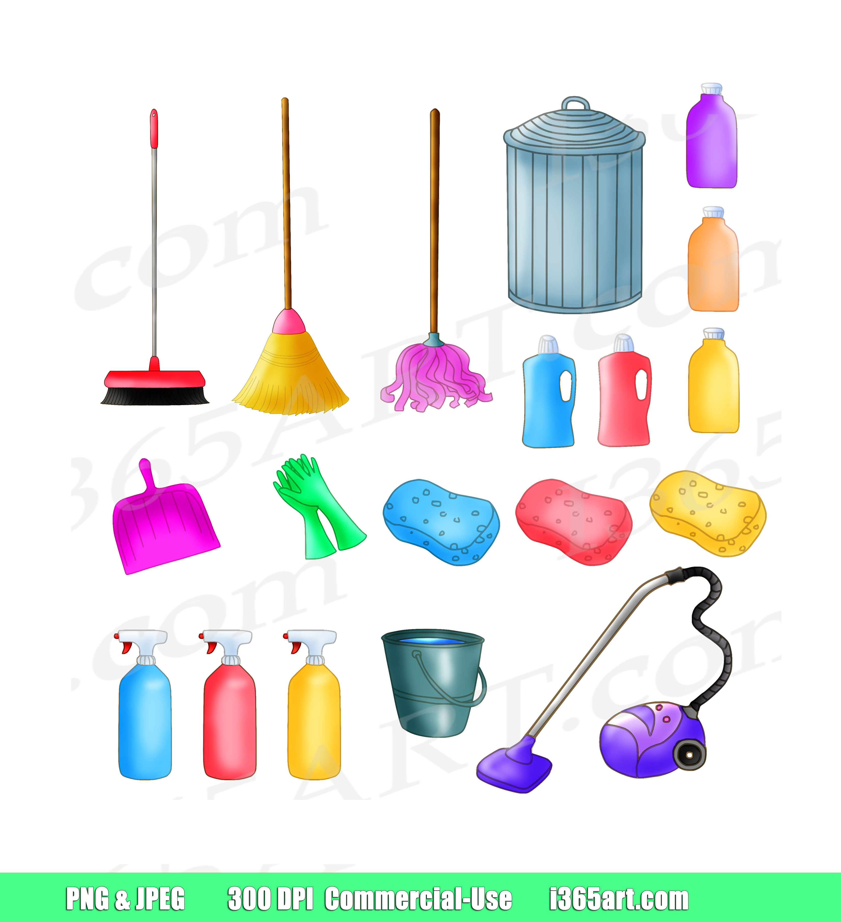 Cleaning Clipart, House keeping, planner sticker icons, scrapbooking, PNG