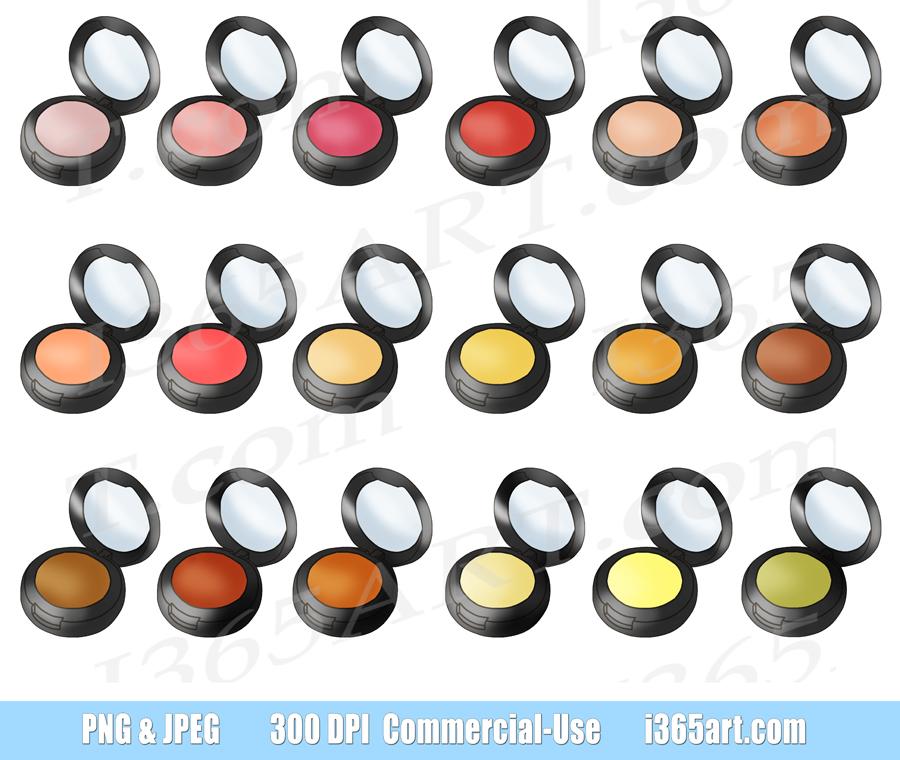 Blush Clipart, Makeup, Face Powder Compact, Beauty Digital Planner Graphics