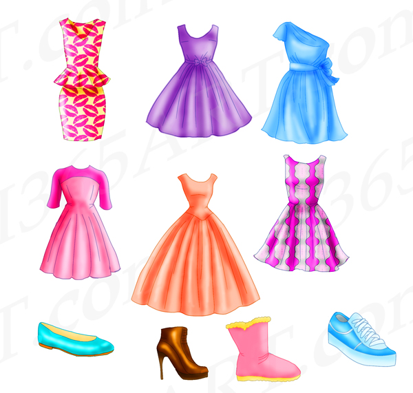 Top Fashion Dresses and Shoe wear Clipart Set