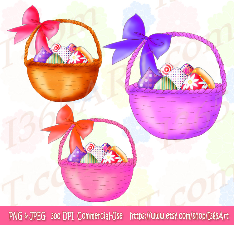 Cute and Colorful Easter Basket Clipart – For Sale Now
