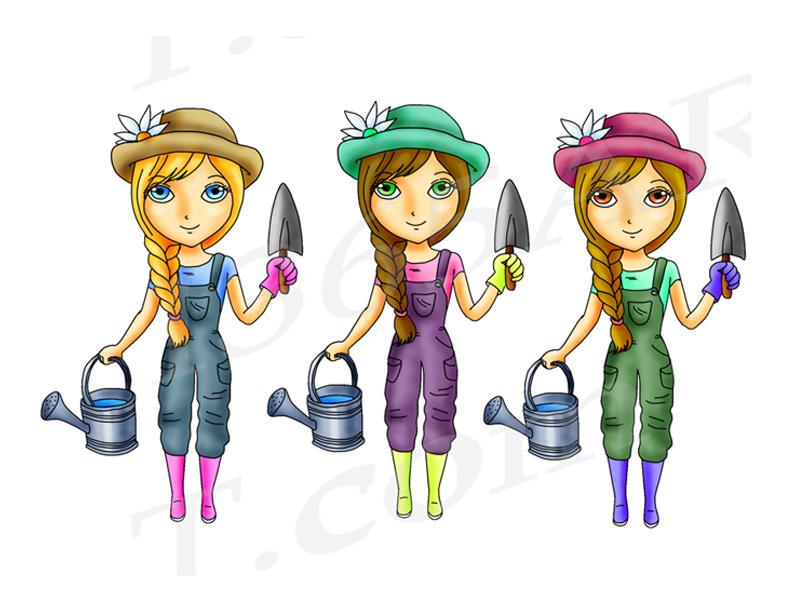 Cute Gardening Girls, Digital Stamp Clipart Set