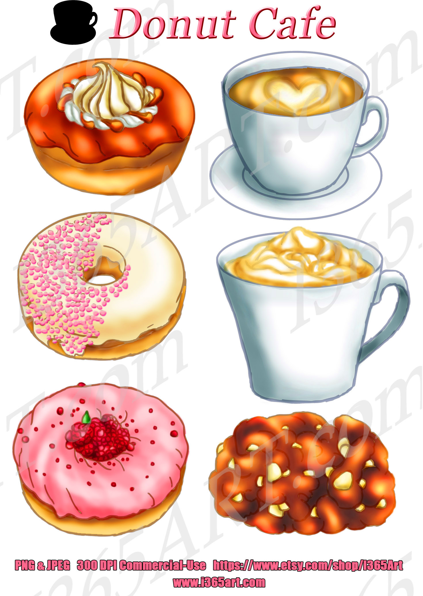 Coffee Shop and Donuts Clipart Set