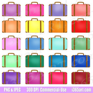 rainbow suitcase clipart
