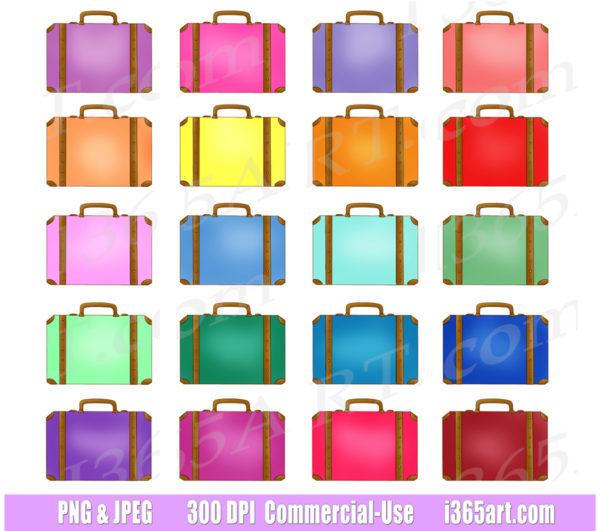 rainbow suitcase clipart