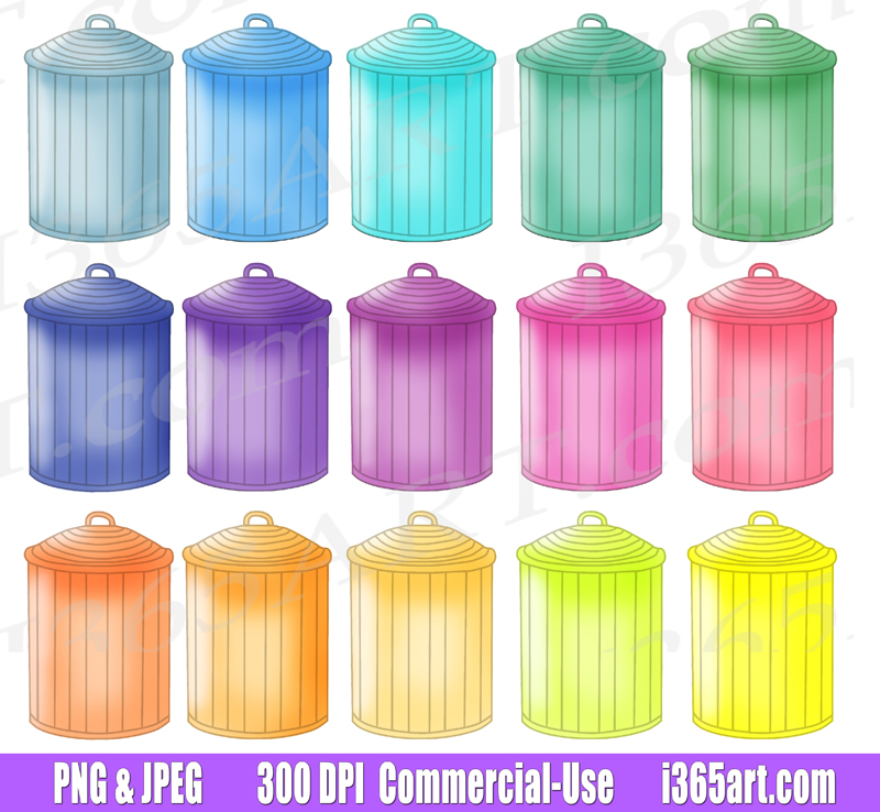 Trash Can Clipart, Garbage can, printables, PNG, Planner graphics, Commercial