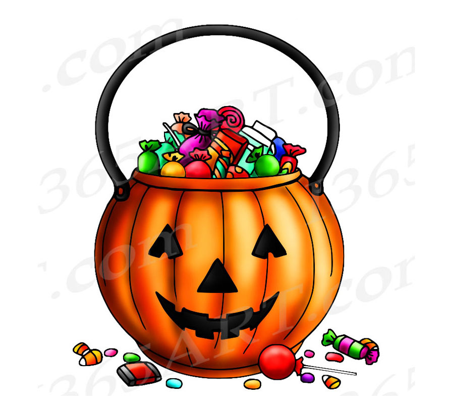 Halloween Trick-Or-Treat Bucket Digital Stamp, Coloring Page & Clipart