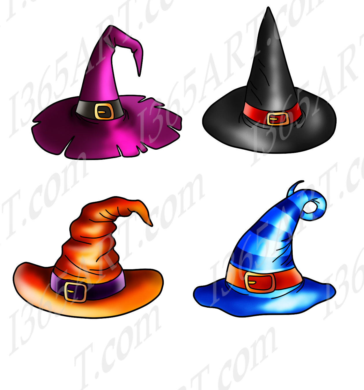 Halloween Witch Hats Clipart, Cake Toppers, Commercial PNG