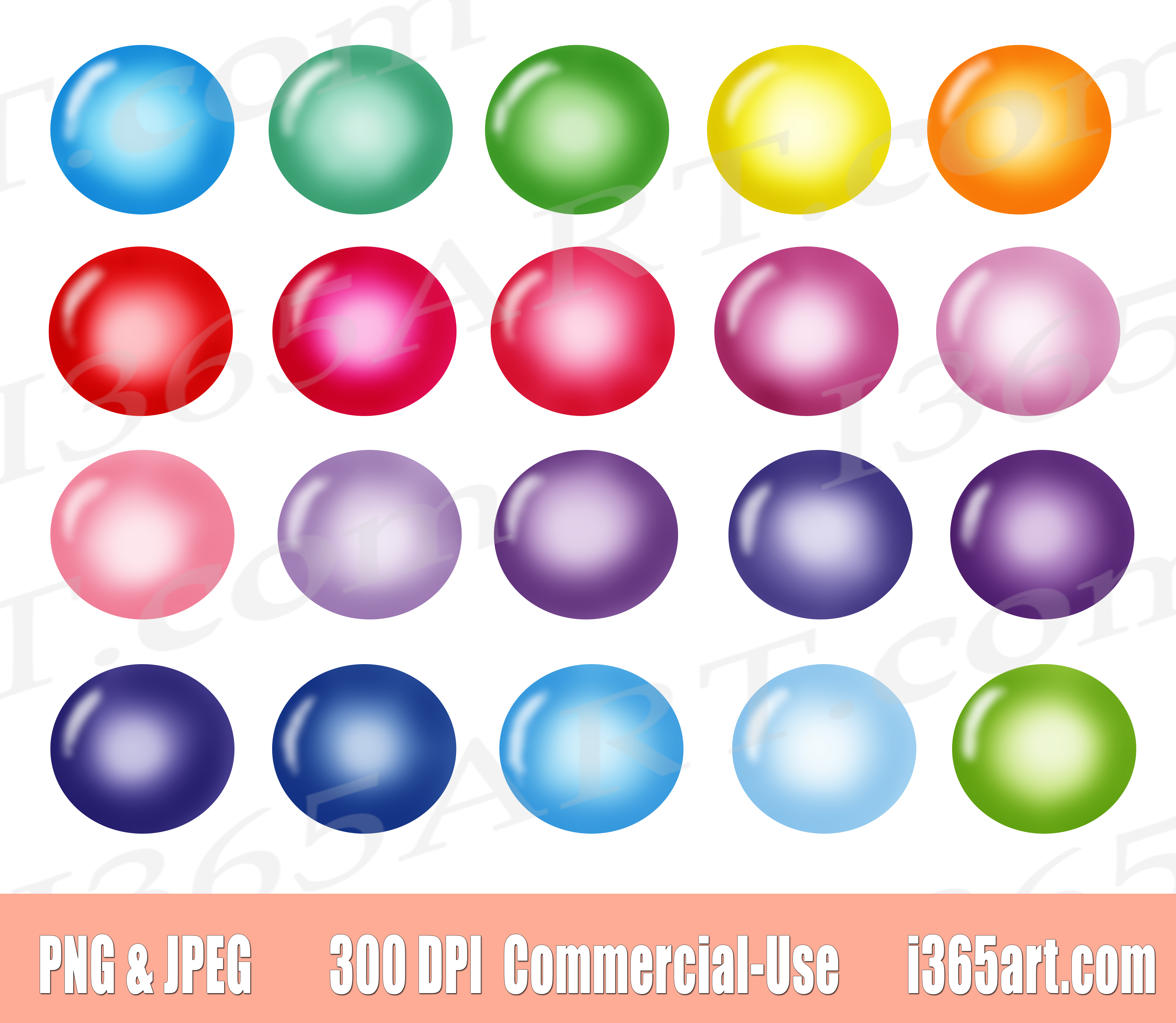 Colorful Pastel Bubbles Clipart Set, Planner Sticker Graphics