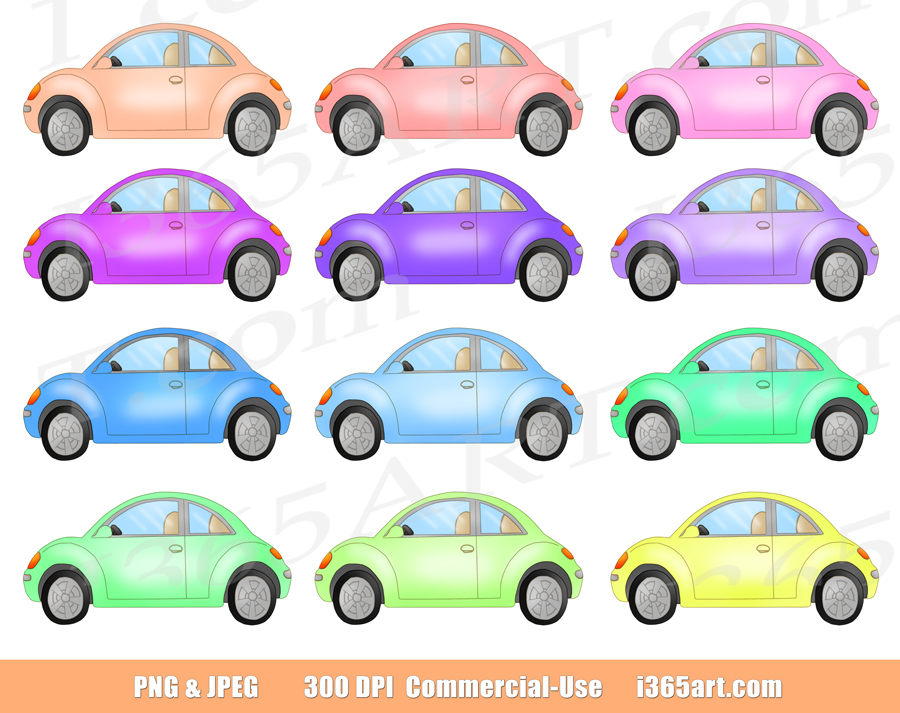 Cute Old Fashion Beetle Cars Clip Art Set