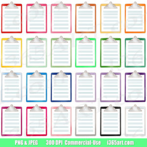rainbow clipboard clipart