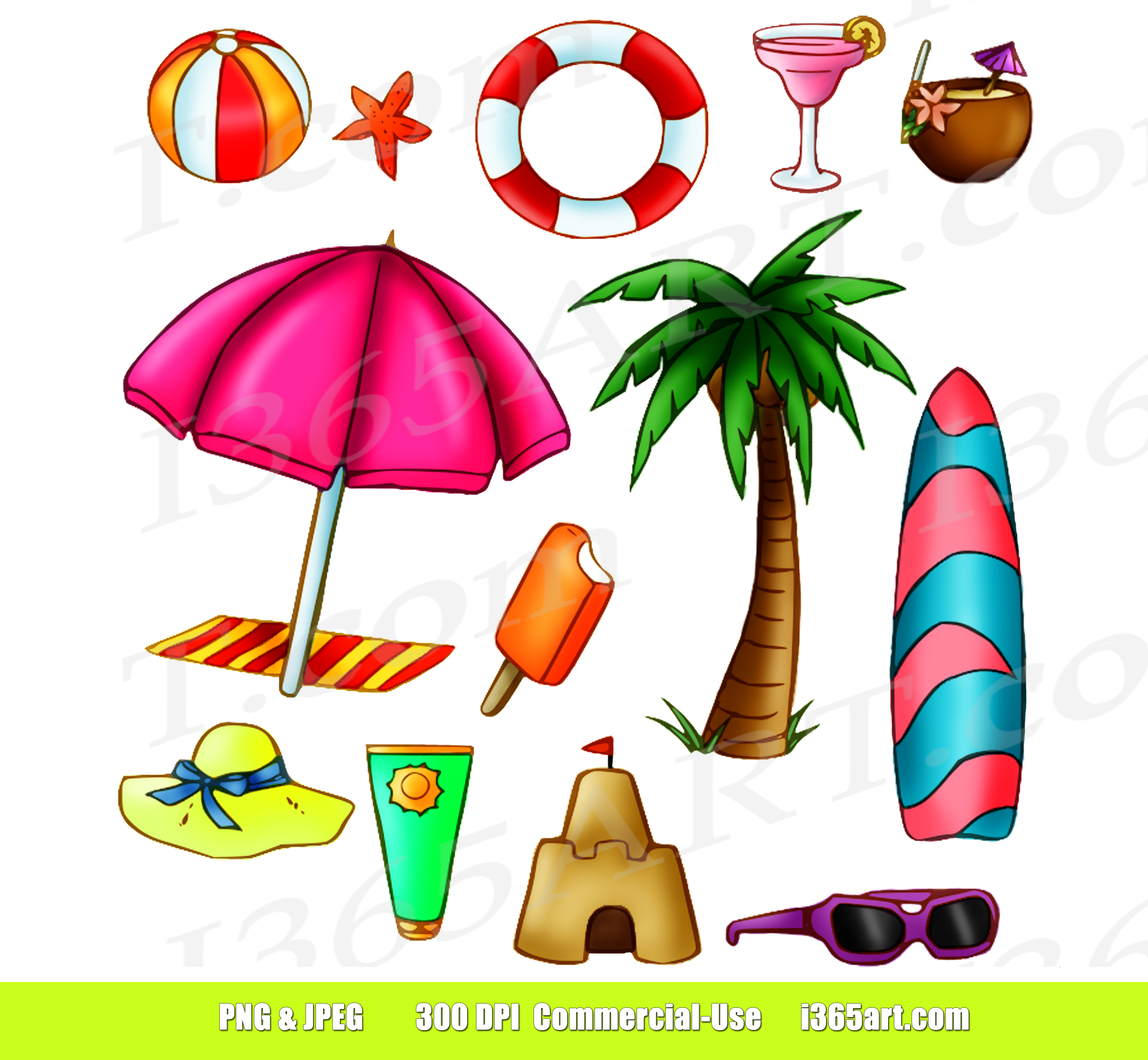 Beach Summer Time Fun Clip Art Set